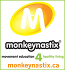Monkeynastix is a fun and challenging non-competitive program for children ages 1-8, focusing on their long term physical, cognitive and social development. Kids fitness in Oakville.